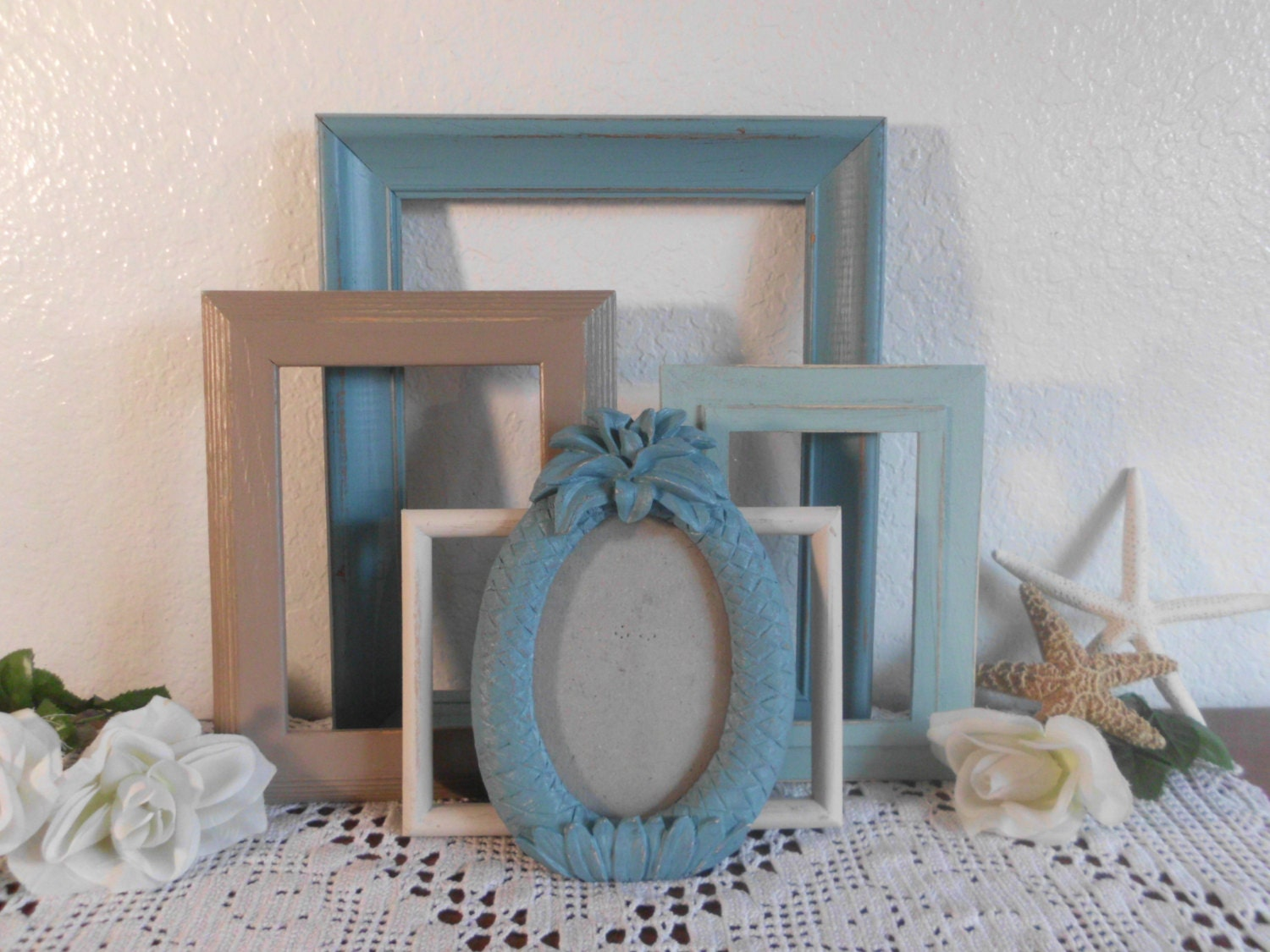 Beach Cottage Frames Shabby Chic Rustic Distressed Picture