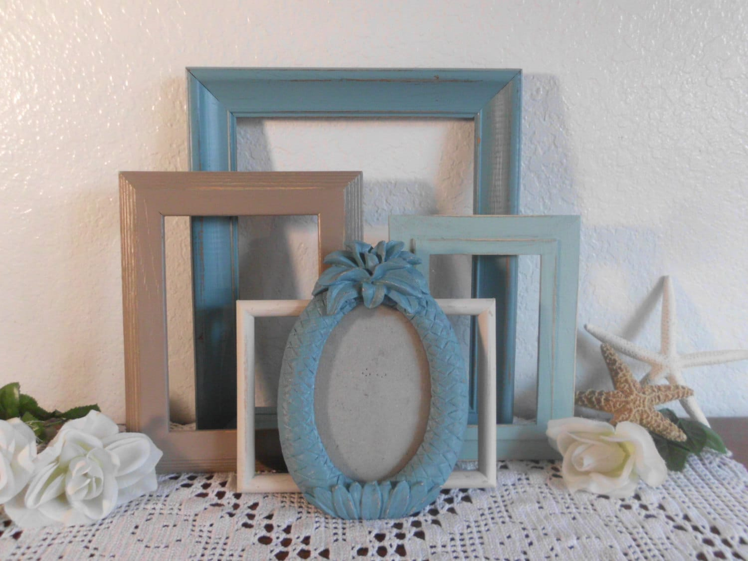 Coastal Decor Shabby Chic: Beach Cottage Frames Shabby Chic Rustic Distressed Picture