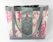 Cream and Pink Pagoda Extra-Large Upcycled Upholstery Tote
