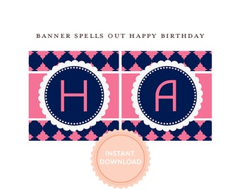 INSTANT DOWNLOAD, Happy Birthday BANNER, Pink and Navy Printable Banner