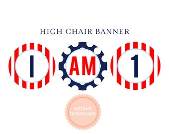 INSTANT DOWNLOAD, Printable Highchair Banner - Nautical Whale Collection, Navy and Red