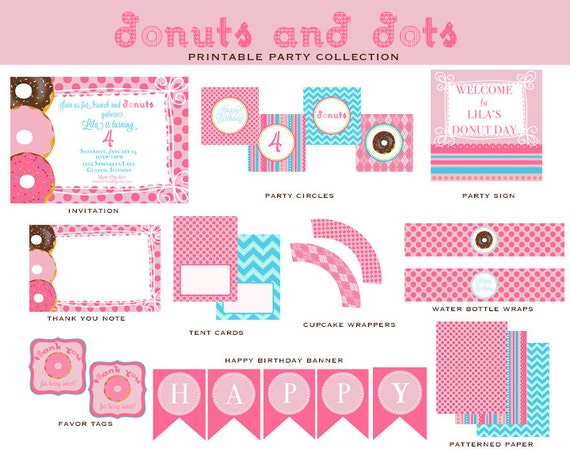 DONUTS & DOTS Birthday Party - PRINTABLE Collection, Donut Party Invitation and Decorations