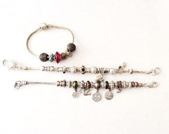 Junk bracelets European charms chains bracelets craft supplies assemblage altered art steampunk project 5 pieces  lot 25J