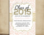 Graduation Party Invitation - Blush Pink Damask and Gold Glitter Invite