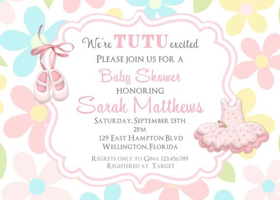 Floral Tutu Cute Baby Shower Invitation