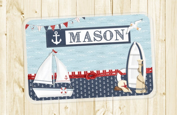 Kids Personalized Placemat - Nautical Sailboat Laminated Placemat for Boys