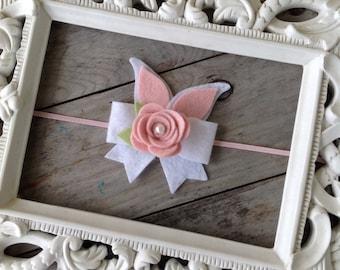 Pink and White Easter Bunny Ears Bow Headband Baby Headbands Baby Girl Headbands Photography Props Easter Headbands Felt Bow Headbands