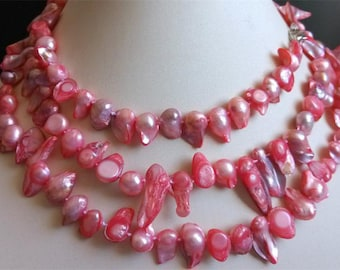 PEARL necklace -48inch pink Baroque pearl long necklace