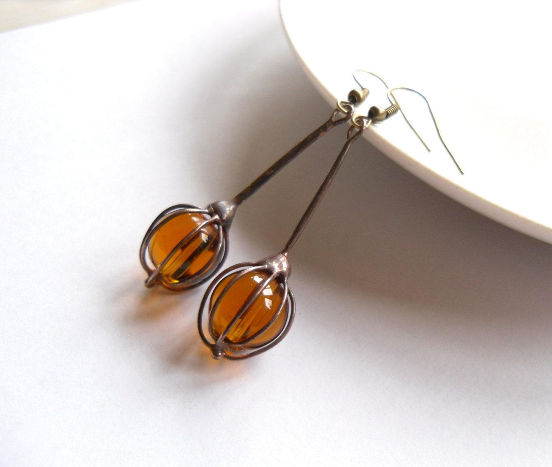 wire earrings glass beaded earrings bohemian earrings