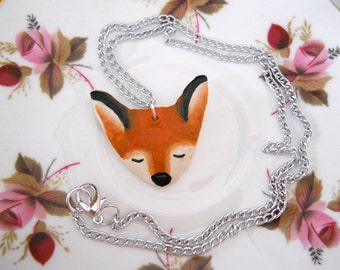 Fox Polymer Pendant Necklace