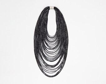 scarf necklace, textile necklace, black necklace strands necklace, textile jewelry, multistrand necklace, elegant necklace , jersey necklace