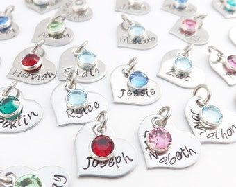 Add on  Stainless Steel Charm Pendant- Hand Stamped Heart Charm with Swarovski Crystal Birthstone Charm