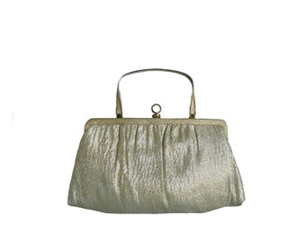 Vintage Gold Purse Metallic Handbag Convertible to Clutch - Ande 1950s Evening Bag