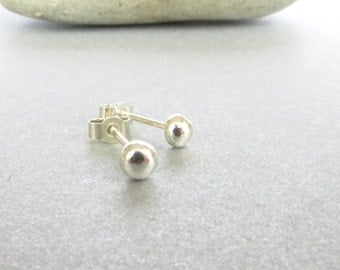 Small Silver Studs, Round Stud Earrings, Sterling Silver, Ball Studs, Silver Post Earrings, Recycled Silver Jewellery, UK Sellers Only