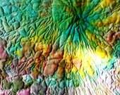 Landscape fiber art, Contemporary art quilt- tie dyed art quilt, wholecloth quilt, sea, oceanary theme, corall islands
