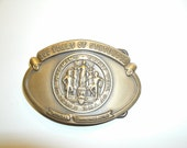 Wyoming State Belt Buckle Centennial solid brass1890-1990 Official