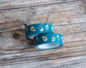 Japanese Washi Tape - Masking Tape Roll in Teal Bird Pattern