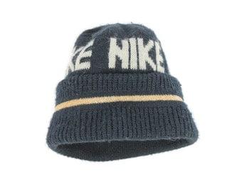 Vintage 80s Nike Blue Tag Hat Beenie Skull Cap Navy Blue Knit Men's Women's Ski Skater Cap Winter Fashion 1980s