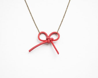Red bow necklace, leather necklace, knotted necklace, layered necklace, red necklace, minimalist necklace, gift for her, summer trends
