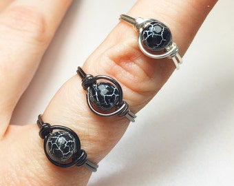 Cracked Planet Wire Wrapped Ring - Broken World Ring - Black Cracked Agate