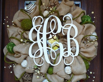 "30"" BURLAP MONOGRAM WREATH"