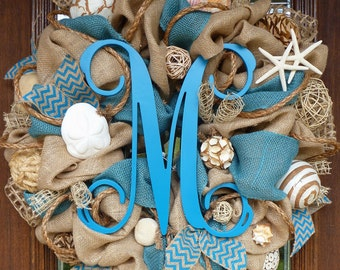 Burlap and TURQUOISE BEACH Wreath with an INITIAL