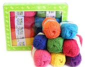 Cotton Brights - Yarn Kit - 8 balls of mercerized cotton yarn in bright colors