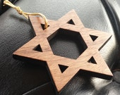 Wooden Laser Cut Jewish Star Ornament