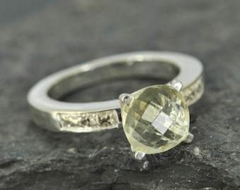 lemon quartz ring, lemon citrine ring, sterling silver ring, yellow, rose cut, gemstone ring, one of a kind, quartz, yellow, lime quartz