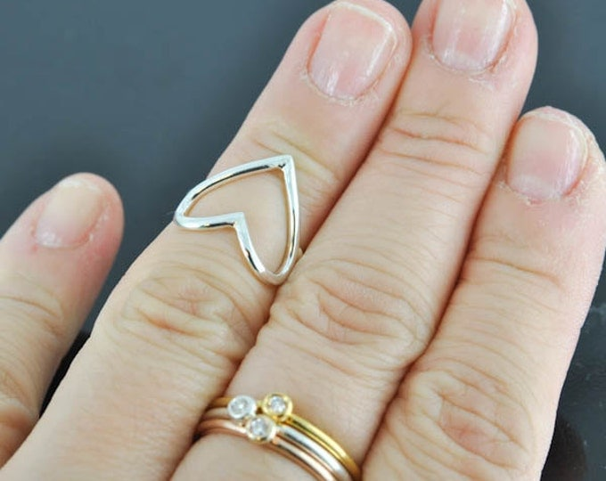 Knuckle Ring, Heart Ring, Valentines heart, open heart ring, sterling silver ring, best friend, promise, friendship, sisters, Wire Ring