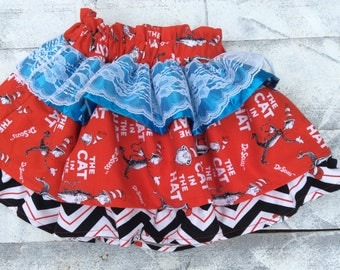 Dr. Seuss cat in the print ruffled skirt for girls,for any season and birthdays or Dr.Seuss story time