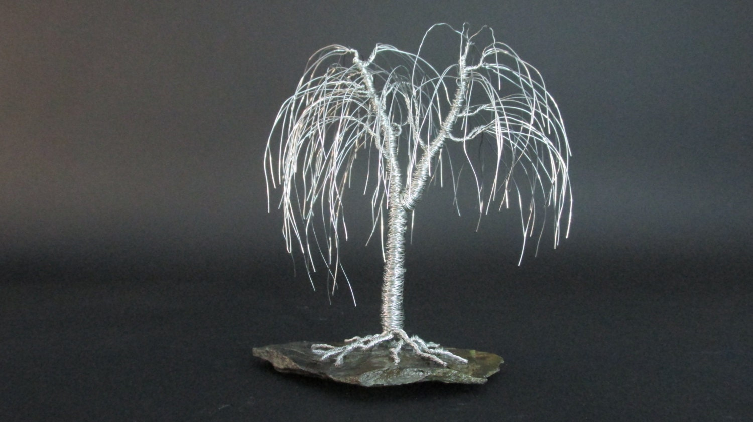 Silver willow tree wire art