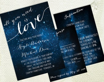 DIY Printable Wedding Invitation - Galaxy - Stars - Space - Universe - Dark Blue - Shower Invitation -