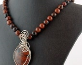 Mahogany Obsidian Wire Wrapped Natural Stone Pendant Necklace