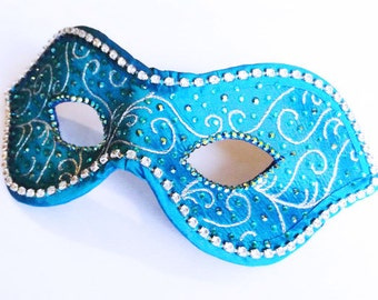 Couture Masquerade Ball Mask - Turquoise and Silver