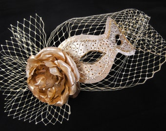 Gold Masquerade Ball Mask ~ with bird cage veil