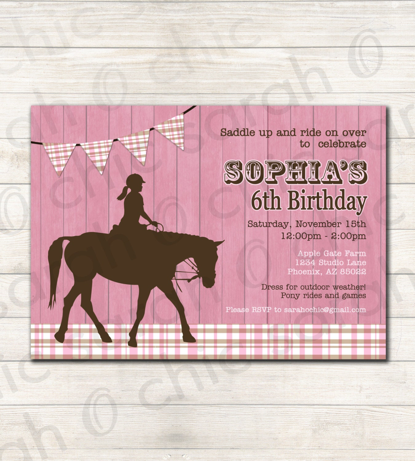 Horse Birthday Party Invitation PRINTABLE COLORS