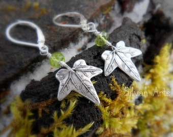 Ivy Leaf Earrings with Natural Peridot - Made with a Real Leaf - Woodland Leaf Earrings - Silvan Leaves - Botanical Jewelry