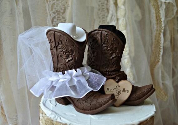 Western Cowboy Boots Wedding Cake Topper