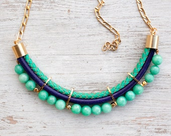 PrettyLover Statement Mint and violet colors Jade Necklace by Pardes