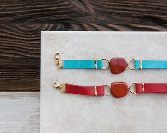 ONE Double Wrap Leather Bracelet w/ Jasper freeform bead by Pardes israel