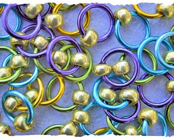 "Ringlets ""Cool Aid"" stitch markers, ring markers, knitting markers, snag free, dangle free"