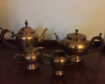 Vintage copper wood handle coffee  tea set 4pc