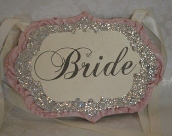 Pink and Silver Bride and Groom chair sign set_glitter signs_reception signs