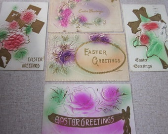 FREE SHIPPING Five Vintage Victorian Easter Postcards with Raised Design