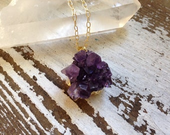 Petite Amethyst Necklace, Authentic Druzy Quartz Necklace, Amethyst Cluster, February Birthstone, Gemstone Necklace, Gold Amethyst