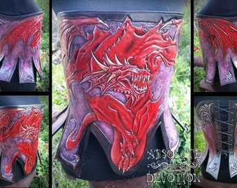Dragon Corset by Absolute Devotion - One of a Kind  Hand Tooled Hard Leather Corset Armor - Ready to Ship  - Absolute Devotion