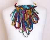African Tribal fringe statement Necklace