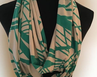 New Very  Long Stretch Knit Off White and Teal Green Infinity Scarf with a lined design