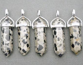 Dalmatian Jasper Double Terminated Pendant Silver plated Bail-- Pencil Point Pendant  (S48B7-02)